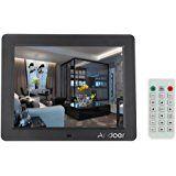 """Andoer ® 8 """"HD écran lCD TFT réveil cadre photo numérique lecteur mP3/mP4/vidéo avec remote desktop noir: Amazon.fr: High-tech"""