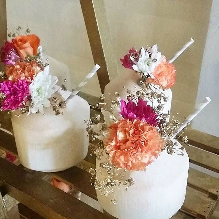 Loco for the coco! Flowers: The Lazy Flamingo Flower Co. Coconuts: Kayter Co