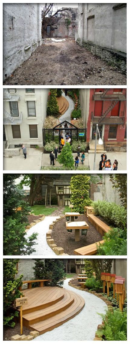 This beautiful community garden in New York City is part of the New York Restoration Project founded by singer Bette Midler. The Home Depot Foundation sponsored the amazing makeover and helped to create a space for local children to learn about nature.