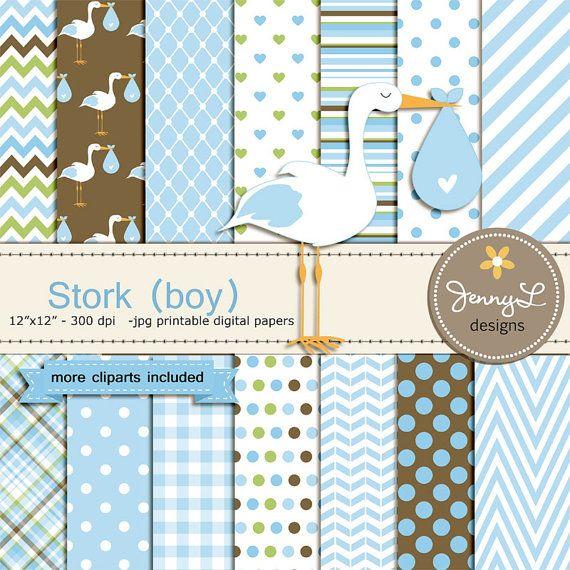 Stork Boy Baby Shower New Baby Boy It's a Boy by JennyLDesignsShop