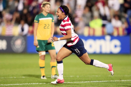 Sydney Leroux scored the 100th goal of the year for the US against Australia on September 19, 2012. She also scored in the London Olympics at age 22, currently the youngest player on the team. AND in her second international cap she scored 5 goals in Olympic qualifying to tie the record for most goals scored in a single game. She's a beast!