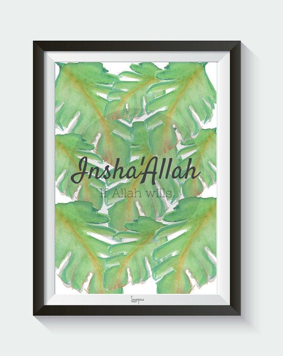 Insha'Allah Leaf  Digital Download Islamic Wall by SnowpeaDesign