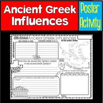 Ancient Greek Influences:All About Ancient Greek Influences on the United States ( Government, Architecture, and the Olympics)Let your students show what they've learned about their studies of Greece and the political roots of our democracy by using this 8.5 x 11 poster.