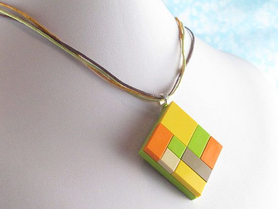 Sunny Cubist Repurposed Lego Necklace! $12