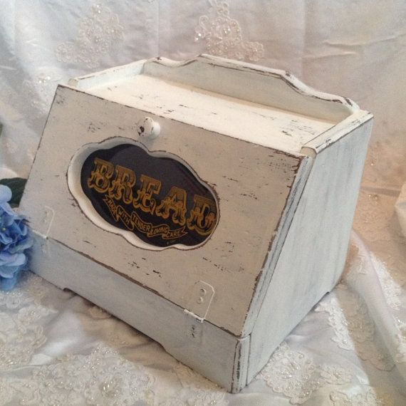 Wooden Bread Box Vintage Wood Breadbox Shabby by Upcycledfairies