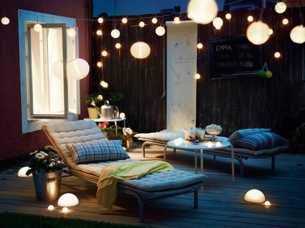 Essentials for Creating a Beautiful Outdoor Room : Page 06 : Outdoors : Home & Garden Television.  Solar lights Ikea.