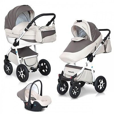 Kombi Kinderwagen 3in1 Komplett Set Mondo Ecco Babywanne Buggy Schale Alu Leder