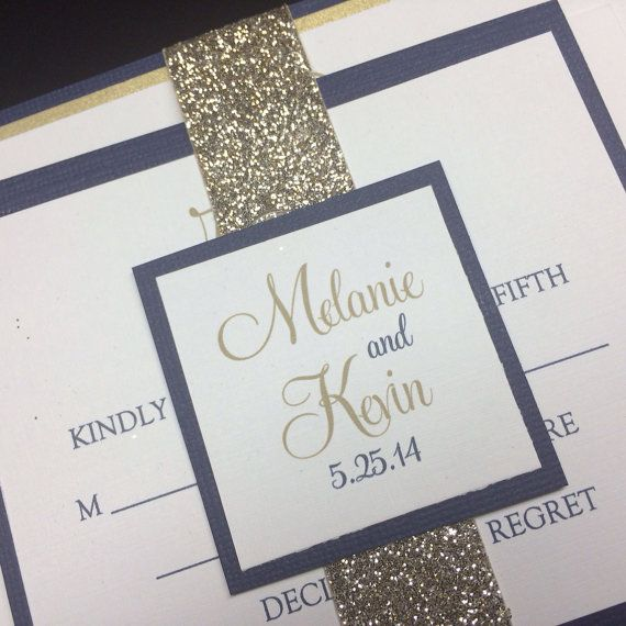 Navy And Gold Modern Wedding Invitations By Fromtheheartgraphics, $5.25