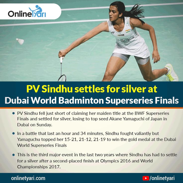 PV Sindhu settles for silver at Dubai World Badminton Superseries Finals. Boost your #currentaffairs with #Onlinetyari.  Open the link in your browser https://buff.ly/2BtxLCo?utm_content=bufferd8ab2&utm_medium=social&utm_source=pinterest.com&utm_campaign=buffer for complete news.  #tyarikaro #PVsindhu #badminton #freemocktest #mocktest #exam #onlineexam #superseries #badmintonfinalurre