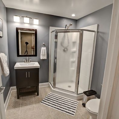 Walkout Basement Design - More attractive basement bathroom. Corner shower unit.