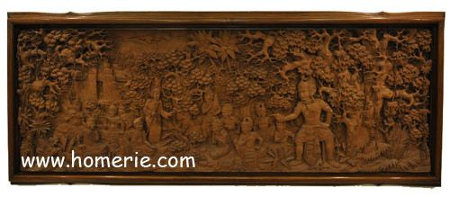 The Mahabharata Relief is crafted from a single piece of teak. With high complicated, detail craving. Really a masterpiece! The relief itself tells us a chapter of the famous Mahabharata story.