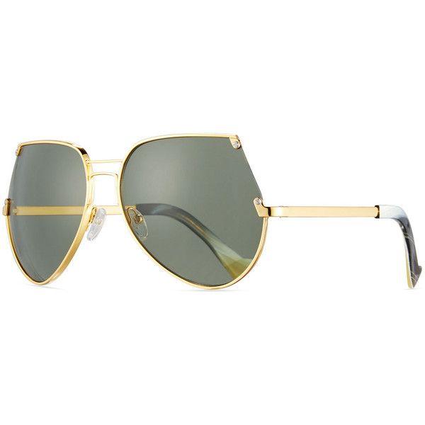 Grey Ant Embassy Cutoff Aviator Sunglasses ($390) ❤ liked on Polyvore featuring accessories, eyewear, sunglasses, gold, grey ant, oversized eyewear, studded sunglasses, aviator sunglasses and double bridge sunglasses