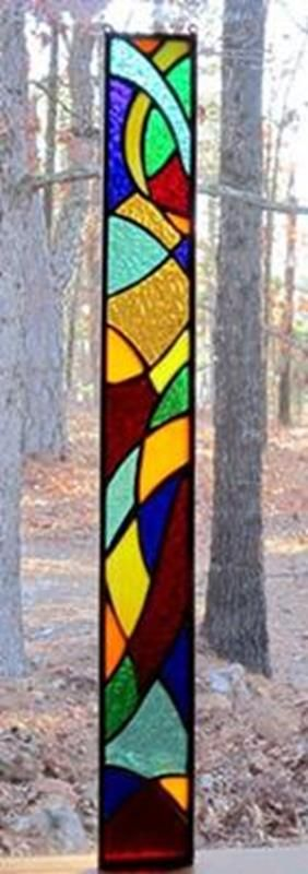 Stained glass window- very colorful..love the design. Dancing Glass.