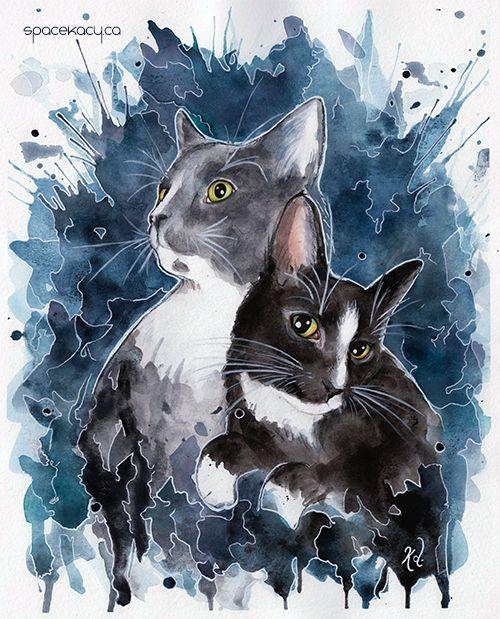 "Cat painting ""Ero & Enhe"" watercolour print on SpaceKacy Etsy"