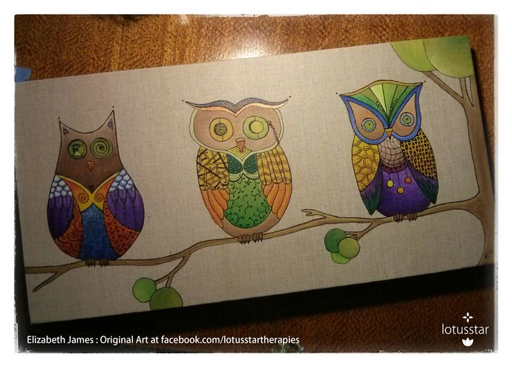 'Owl Wisdom' in acrylic and ink on natural raw linen stretched canvas by Elizabeth James. Reproduction available via http://www.facebook.com/media/set/?set=a.675692062503221.1073741835.318539891551775&type=3  #owl #tree #acrylic #painting #ink #zentangle #art #elizabethjames #lotusstar #adelaide