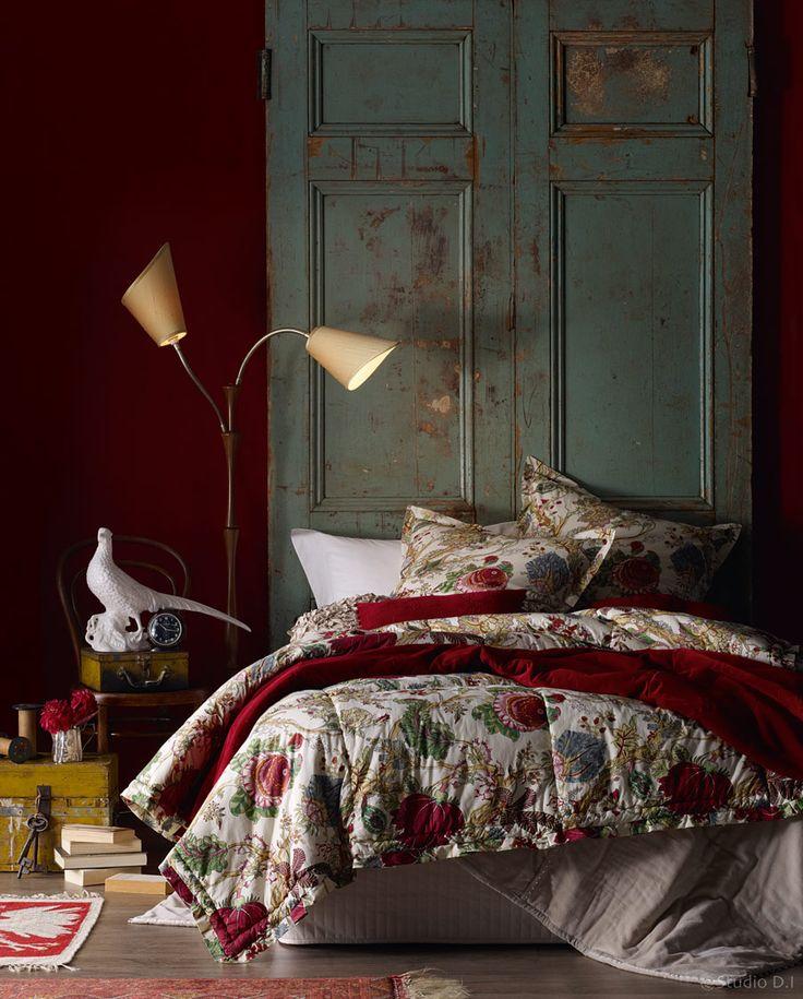 green + red bedroom