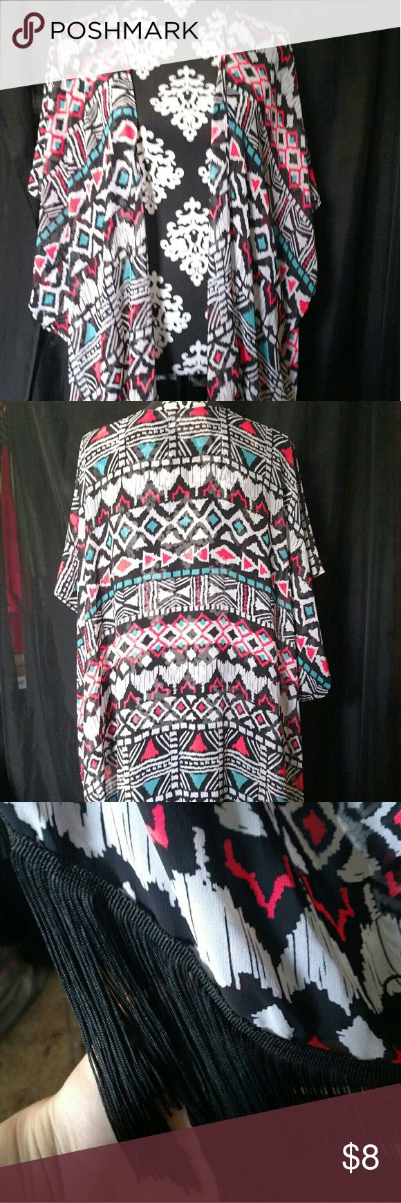 NWT OP Kimono Swimsuit Cover Up Never worn, still has tag. Colorful tribal print with black fringe along bottom. Says swimsuit cover up, but can be worn as kimono as well. OP Swim Coverups