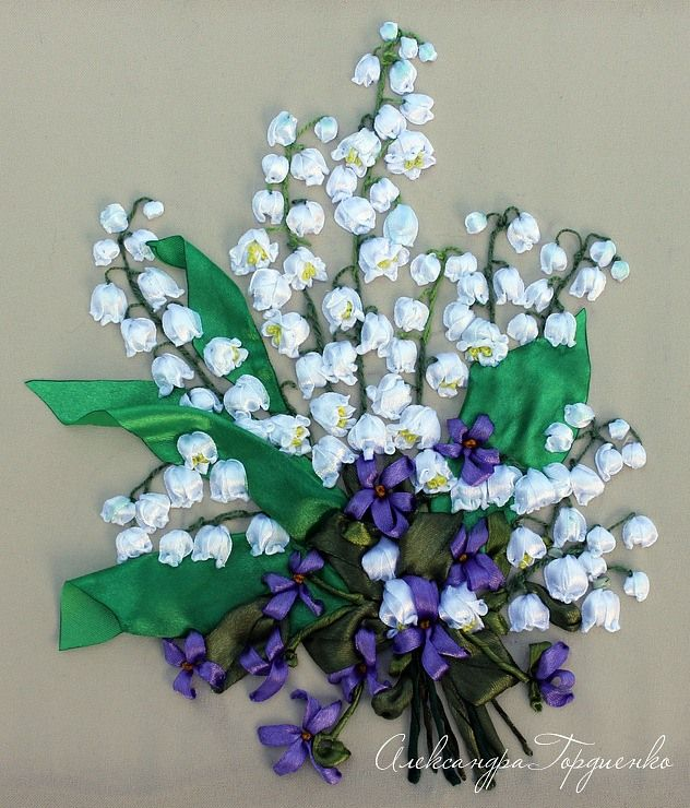 Lily of the valley in ribbonwork.