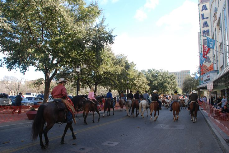 Horses in front of the Alameda Theatre, San Antonio, Texas