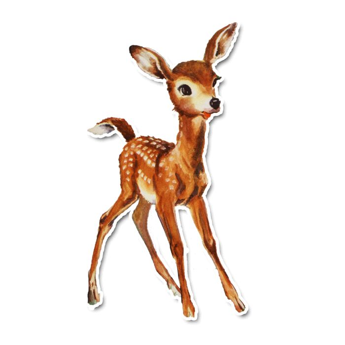 Vintage Diecut - Finn the Fawn   Baby deer