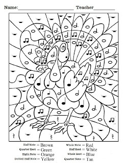 """For Thanksgiving's """"Gratitude Gathering"""" at the music studio: color-by-rhythm page that helps the kids reinforce musical knowledge and hand-eye coordination."""