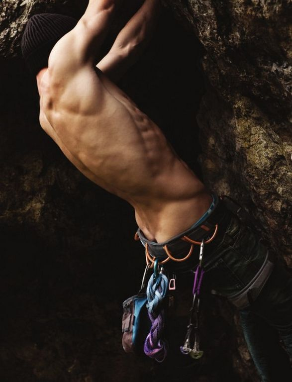 No idea who this is, but he deserves to be in the Yumminess album. Rock climbers = yummy muscle definition