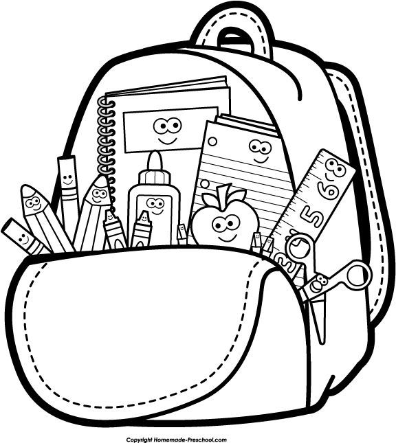 Back to School Clipart Black and White Backpack School