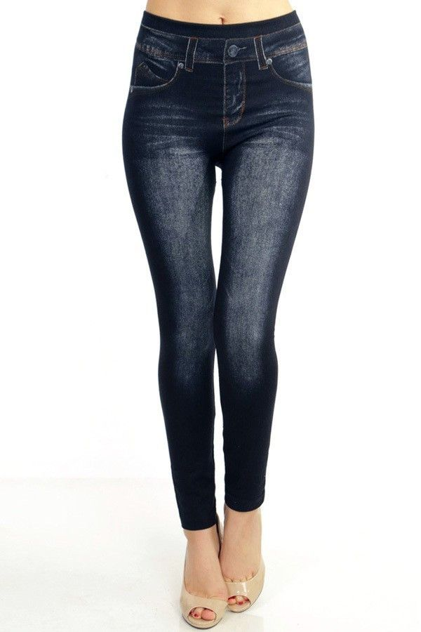 Style: S0093 Color: Black Description: Denim Print Jeggings
