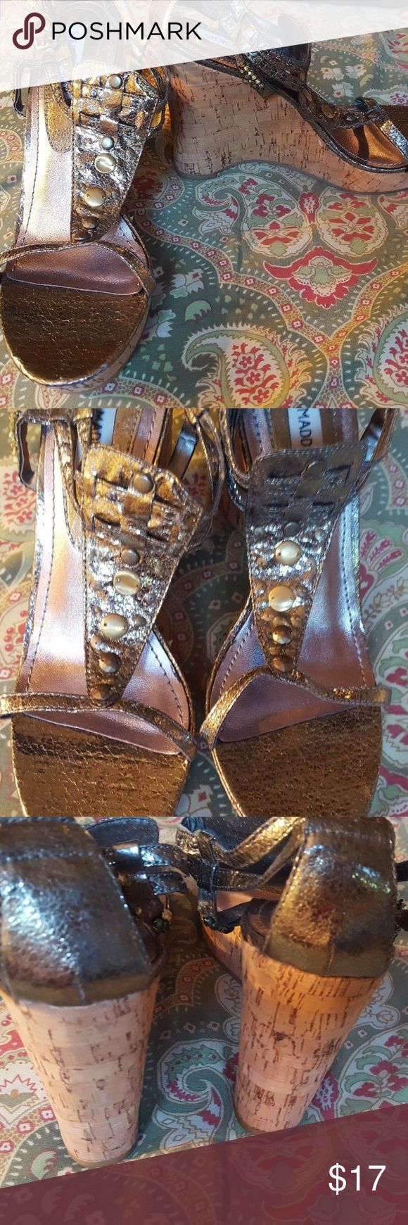 "Steve Madden 8.5 8 1/2 silver wedge sandals shoes Shoes are in excellent condition.  Heels are a little over 3.5"".  VYCCE.  Located in a smoke-free home. Steve Madden Shoes Sandals"