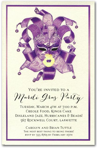24 best mardi gras images on pinterest | mardi gras party, Birthday invitations