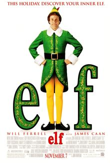 "An elf stands between the letters ""e"" and ""f""."