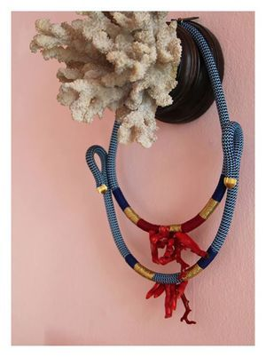 Katherine Pichulik  'Untitled'   Coral, Gold Twine, Brass and Rope