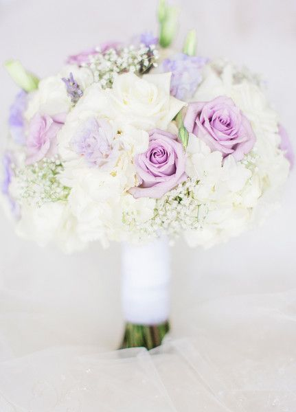 Purple + white bridal bouquet idea - purple spray roses + carnations and baby's breath {Dyanna Joy Photography}