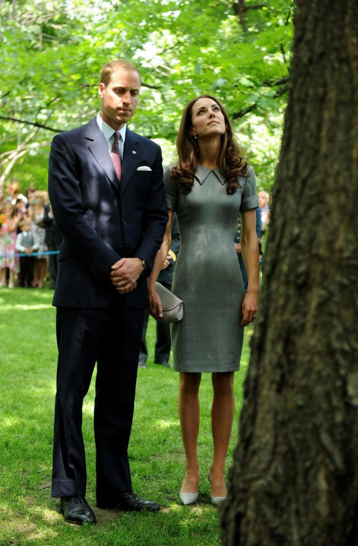 William and Kate quietly reflect at a tree planted by Diana: