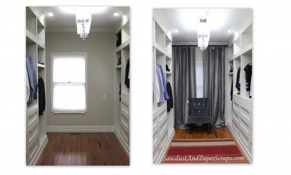 How to use curtains to solve off center window problems.
