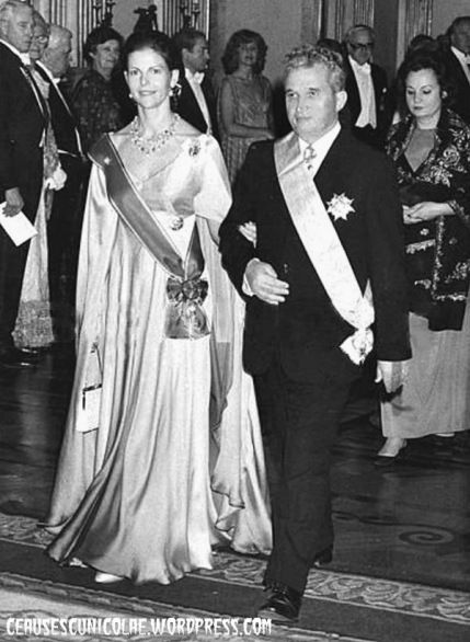 Nicolae Ceausescu and Queen Silvia of Sweden