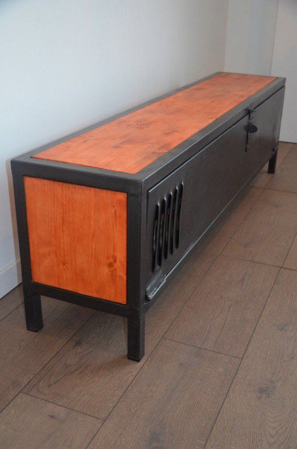1000 ideas about metal tv stand on pinterest industrial for Table tv bois