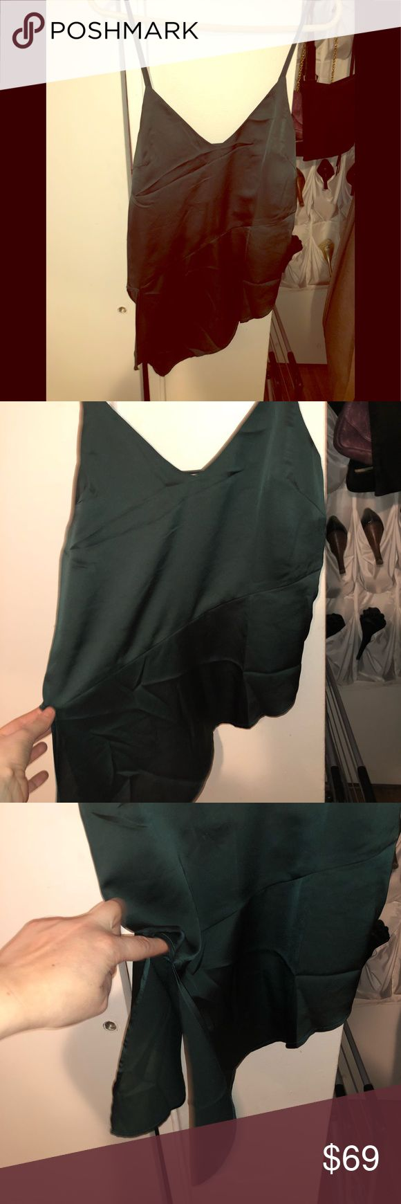 Beautiful asymmetrical satin top 100% polyester re:named Tops Tank Tops