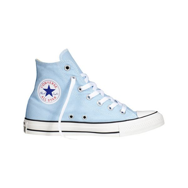 Converse Chuck Taylor All Star High Top Sneaker - Blue Sky Casual... ($40) ❤ liked on Polyvore featuring shoes, sneakers, blue, blue sneakers, blue shoes, star sneakers, hi-tops and converse shoes