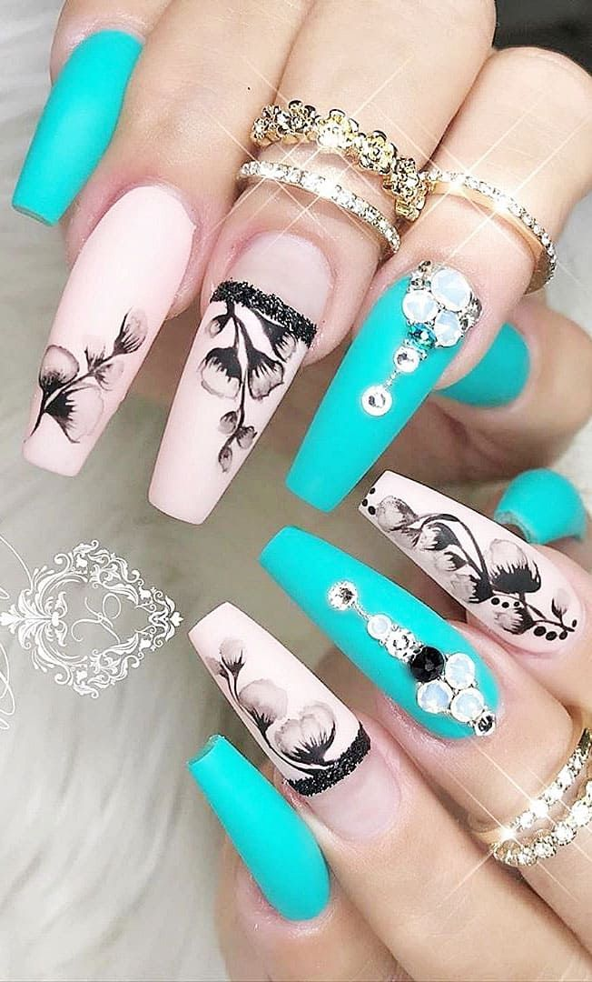 2019 Flashy Acrylic Nail Designs in Coffin Shape Of Summer
