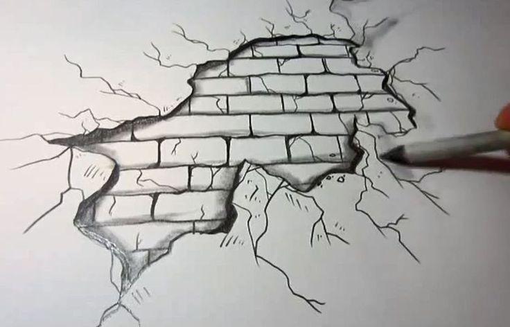 Backsteinmauer Durch Federzeichnungspapier 3dpaperartwall Backsteinmauer Durch Federzeichnungspapie 3d Bilder Zeichnen Zeichenvorlagen Malen Und Zeichnen