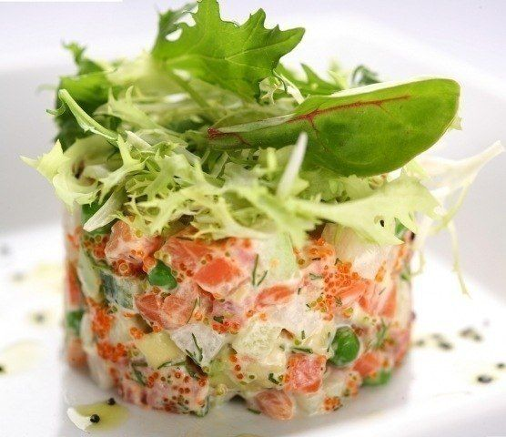 Olivier with salmon and fresh cucumber(weight loss)