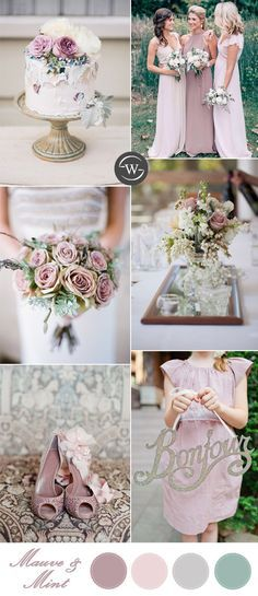romantic classic mauve and mint wedding color ideas
