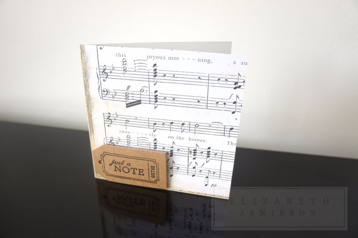 Handmade 'just a note' music sheet card! Available at: www.etsy.com/uk/shop/EMJLondon