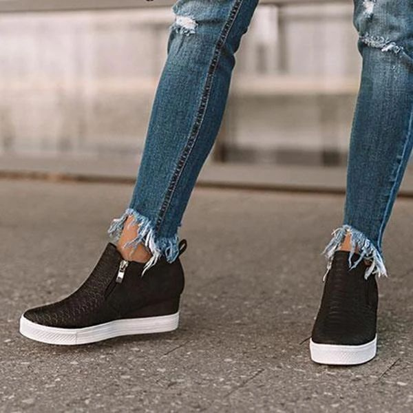 Chenghe Womens Platform Wedge Sneakers Fashion High Top Wedge Booties Slip On Side Zipper Casual Wedge Shoes