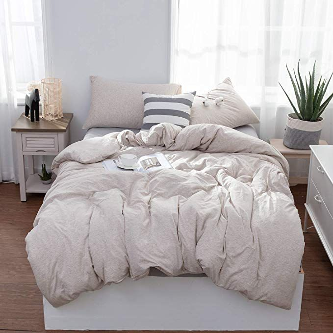 Amazonsmile Lifetown Jersey Knit Cotton Duvet Cover Set 3 Pieces 1 Duvet Cover And 2 Pillow Cases Simple Solid Taupe Bedding Bedding Sets Queen Duvet Covers