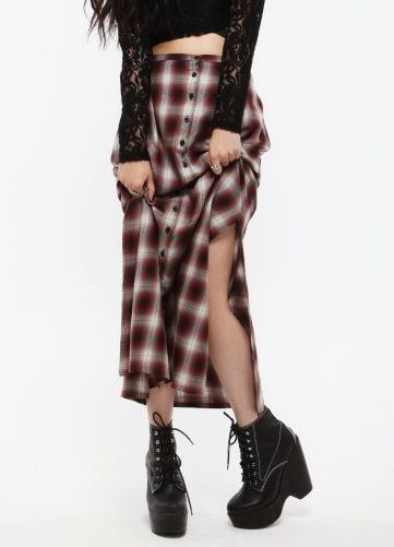 90's grunge long flannel skirt, black lace top and boots.