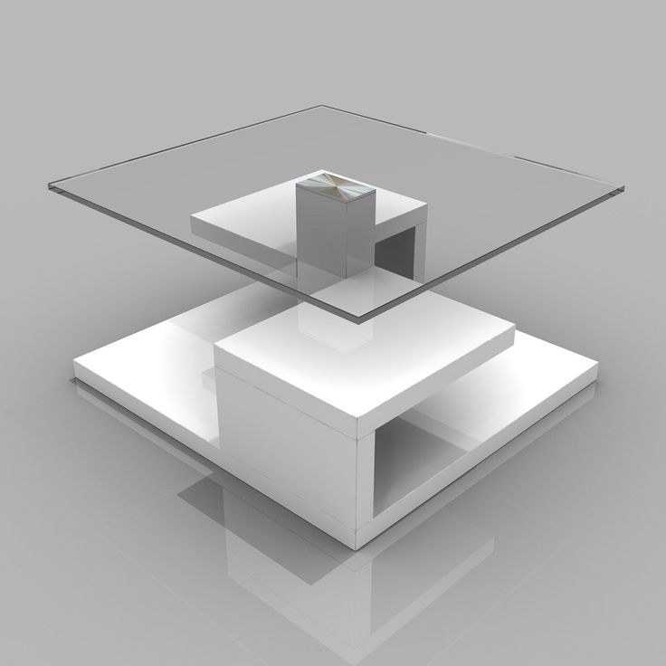 Tim Clear Glass Coffee Table With High Gloss White Base