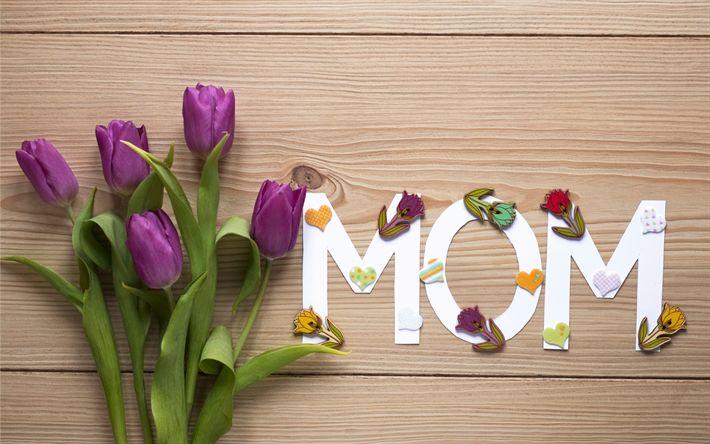Download imagens Eu amo minha mãe, Dia Das Mães, o feriado internacional, roxo tulipas, primavera