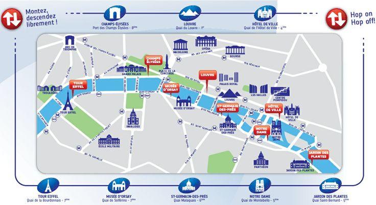 Batobus map, Paris.